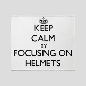 Keep Calm by focusing on Helmets Throw Blanket