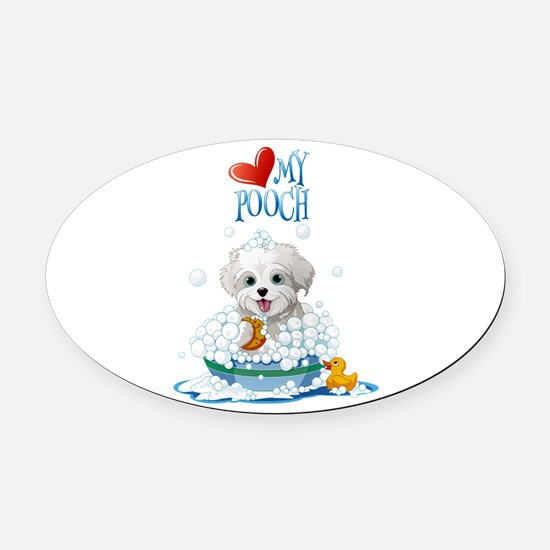 Love My Pooch- Oval Car Magnet