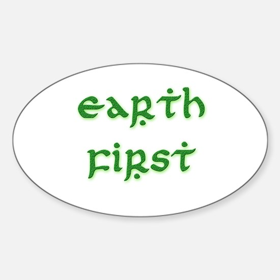 Earth First (green) Oval Decal