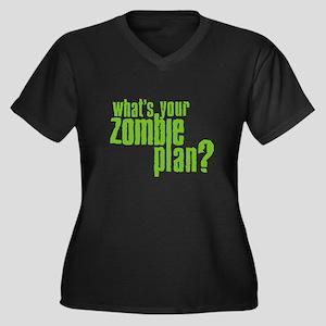 Zombie Plan Women's Plus Size V-Neck Dark T-Shirt