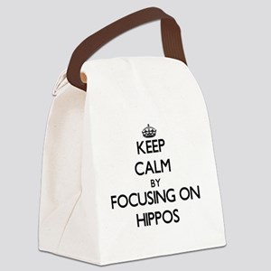 Keep Calm by focusing on Hippos Canvas Lunch Bag