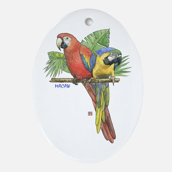 Tropical Macaws Oval Ornament