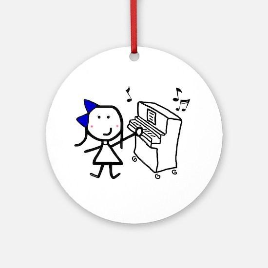 Girl & Piano Ornament (Round)