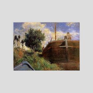 Paul Gauguin Blue Barge 5'x7'Area Rug