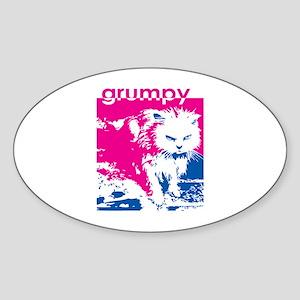 Grumpy Kitty Pink Oval Sticker