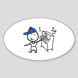 Boy & Piano Oval Sticker