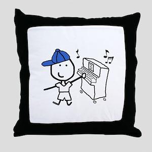 Boy & Piano Throw Pillow