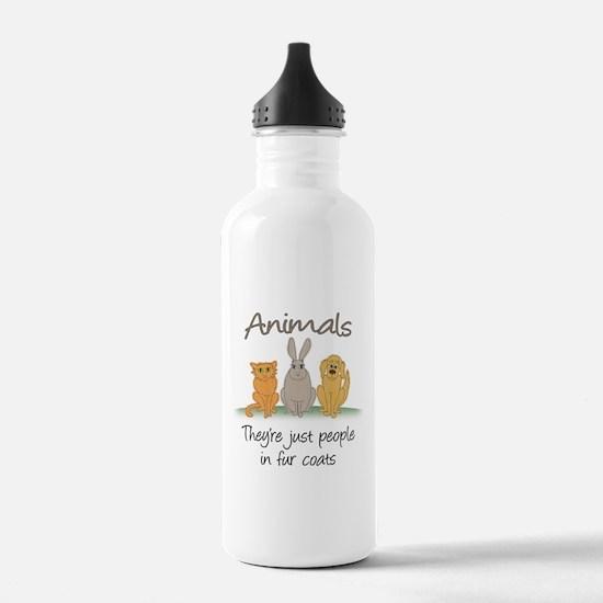 People in fur coats Water Bottle
