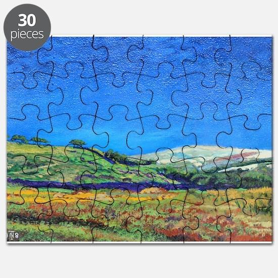 Derbyshire landscape, 1999 (oil on board) - Puzzle