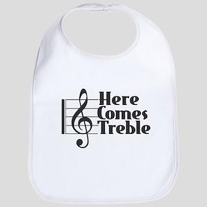 Here Comes Treble - Black Baby Bib