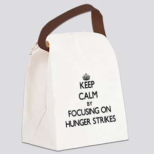 Keep Calm by focusing on Hunger S Canvas Lunch Bag