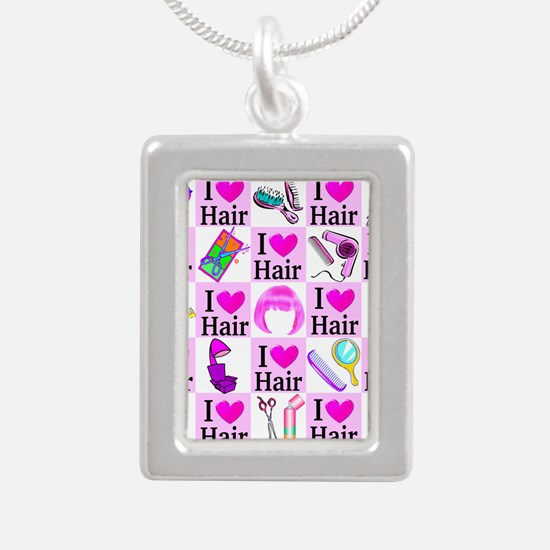 LOVE HAIR Silver Portrait Necklace