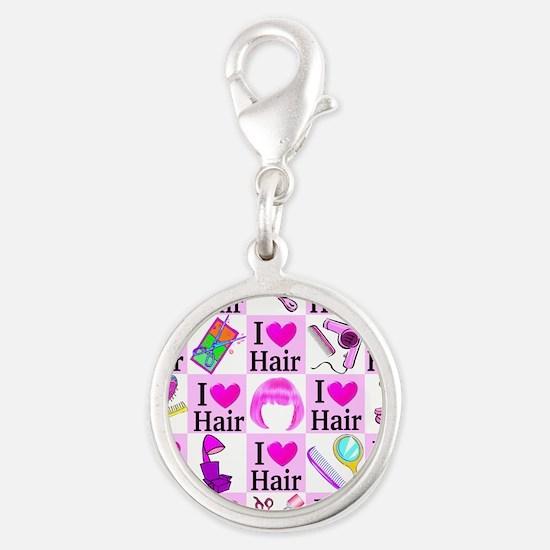 LOVE HAIR Silver Round Charm