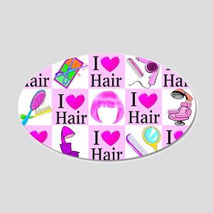 LOVE HAIR 20x12 Oval Wall Decal