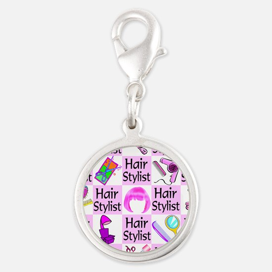 SUPER HAIR STYLIST Silver Round Charm