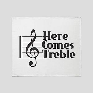 Here Comes Treble - Black Throw Blanket
