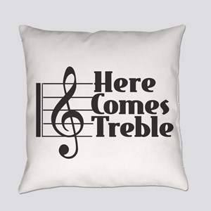 Here Comes Treble - Black Everyday Pillow