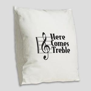 Here Comes Treble - Black Burlap Throw Pillow