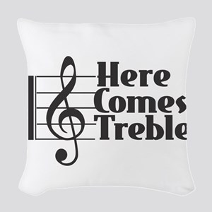 Here Comes Treble - Black Woven Throw Pillow