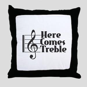Here Comes Treble - Black Throw Pillow
