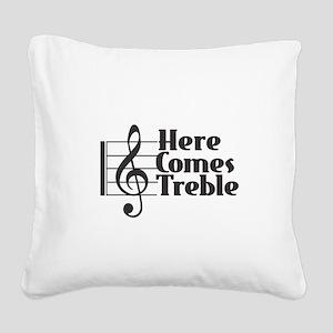 Here Comes Treble - Black Square Canvas Pillow