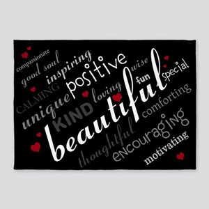 Positive Thinking Text 5'x7'Area Rug