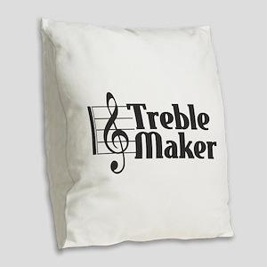 Treble Maker - Black Burlap Throw Pillow