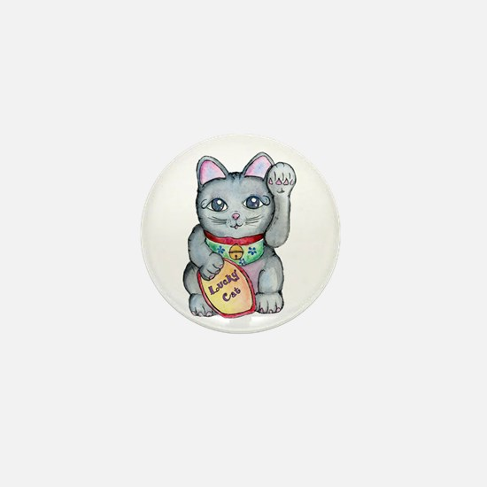 Lucky Cat Maneki Neko Mini Button