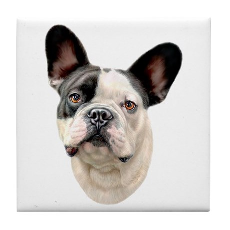 French Bulldog BW Bust Tile Coaster