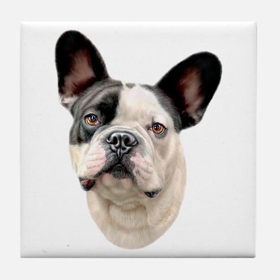 French Bulldog BW Bust Tile Coaster