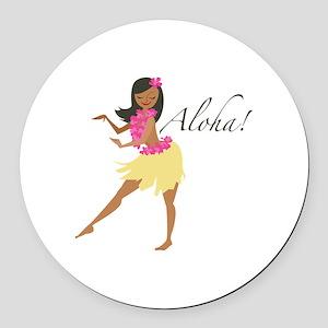 Aloha Girl Round Car Magnet