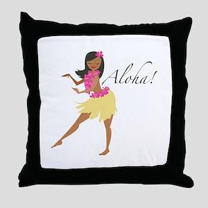 Aloha Girl Throw Pillow