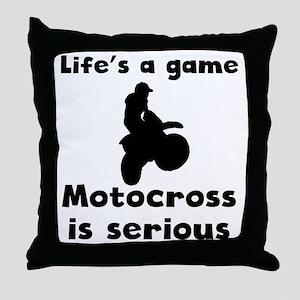 Motocross Is Serious Throw Pillow