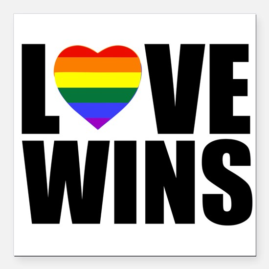 "Love Wins! Square Car Magnet 3"" X 3"""