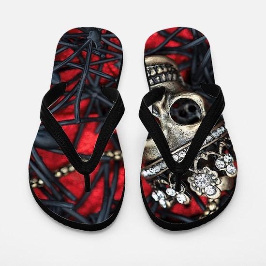 Skull and Spiders Flip Flops