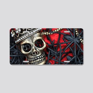 Skull and Spiders Aluminum License Plate