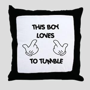 This boy loves tumbling Throw Pillow