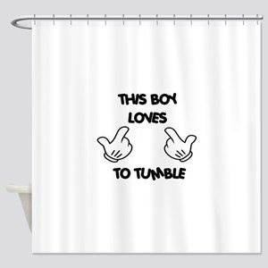 This boy loves tumbling Shower Curtain