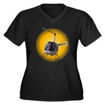Helicopter Women's Plus Size V-Neck Dark T-Shirt