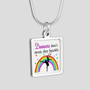 SPARKLING DANCER Silver Square Necklace