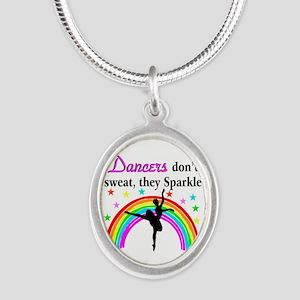 SPARKLING DANCER Silver Oval Necklace