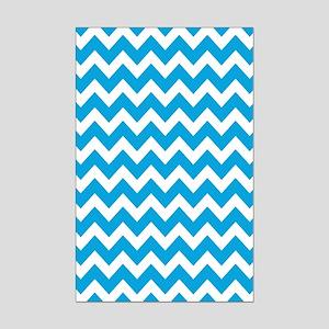 Blue and White Zigzag Stripes Mini Poster Print