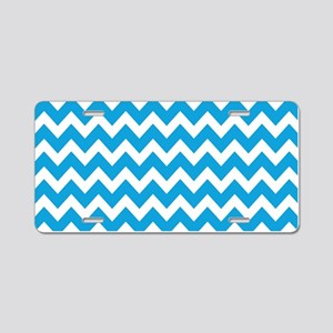 Blue and White Zigzag Strip Aluminum License Plate
