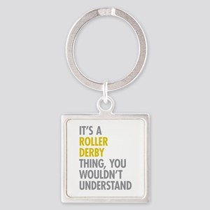 Roller Derby Thing Square Keychain