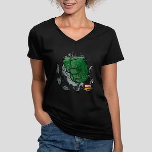Hulk Fist Women's V-Neck Dark T-Shirt