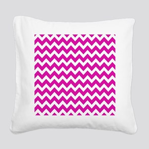 Pink and White Zigzag Stripes Square Canvas Pillow