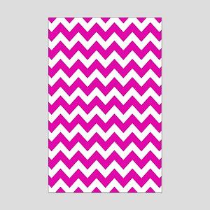 Pink and White Zigzag Stripes Mini Poster Print