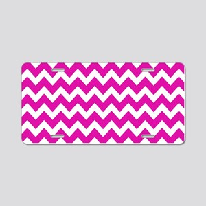 Pink and White Zigzag Strip Aluminum License Plate