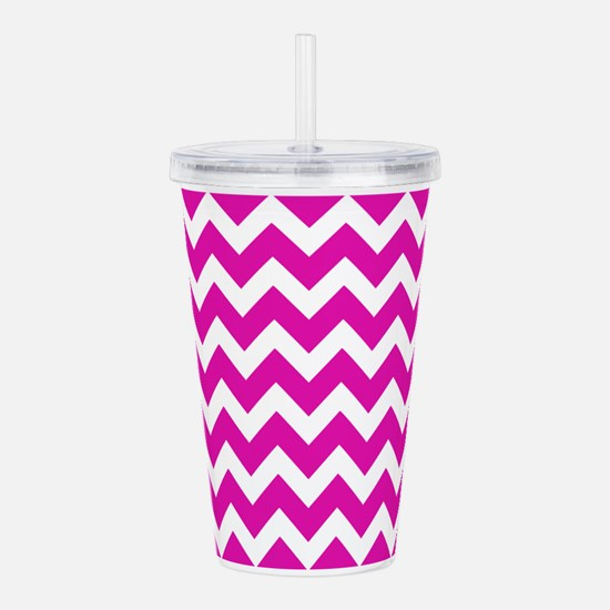 Pink and White Zigzag Acrylic Double-wall Tumbler