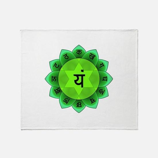 Green Anahata Heart Chakra Throw Blanket